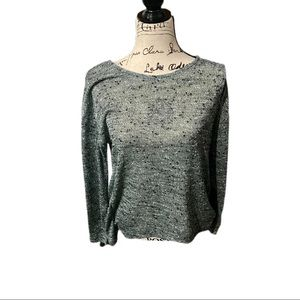 Women's grey long sleeve with mint green lace back